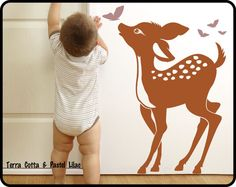 BAMBI Wall Art Decal for Baby Nursery Room - Vinyl Decor w/ Butterfly & Friends via Etsy