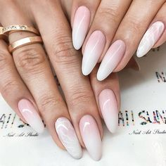 A bride should look ideal to the tips of her nails. That's why we have collected the trendiest and the most elegant ideas of your wedding manicure. Choose from our incredible collection and find a perfect match for you. Manicure Colors, Nail Manicure, Nail Colors, Trendy Nails, Cute Nails, My Nails, Marble Nail Designs, Wedding Manicure, Almond Acrylic Nails