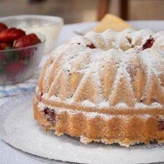 Strawberry and rosemary bundt cake