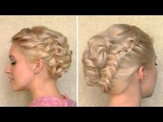 Curly wedding updo for medium long hair tutorial Spring prom hairstyle for short hair look