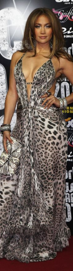 Jennifer Lopez in Roberto Cavalli leopard dress