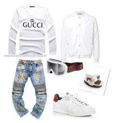 """"""""""" by jordanq ❤ liked on Polyvore featuring Gucci, adidas, HL Heddie Lovu, men's fashion and menswear"""