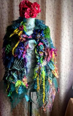 RESERVED Scarf Shawl Bohemian scarf boho shawl victorian scarf embellished scarf flower scarf shrug Scarves & Wraps boho scarf tattered lace scarf Hand knitted scarf with a very soft yarn(mohair,acrylic) ,with textile collage :silk ,cotton,veil,lace,hand made silk flowers,vintage