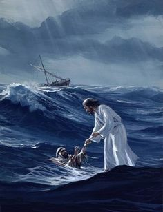 """Jesus reached out his hand and caught him. """"You of little faith,"""" he said, """"why did you doubt?""""Immediately Jesus reached out his hand and caught him. """"You of little faith,"""" he said, """"why did you doubt? Pictures Of Jesus Christ, Bible Pictures, Religious Pictures, Cross Pictures, Image Jesus, Jesus Art, Biblical Art, Jesus Is Lord, Bible Art"""