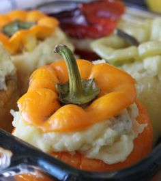 Mashed Potato Stuffed Bell Peppers: Love love LOVE bell peppers, especially the red, yellow and orange ones. But I also love mashed potatoes! How can I combine the two…I wonder. Oh, I know, in this wonderful stuffed bell pepper dish.