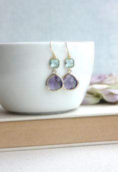Aqua Blue, Dark Purple Glass Framed Drop, French Hook Earring. Modern Egg Plant Wedding. Bridesmaids Gift. Sister, Friends. Purple Wedding.