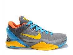 Nike Zoom Kobe 7 Grey Yellow Blue,Style code:488244-161,The Kobe 7 features a grey upper with yellow swoosh and midsole, while blue color was used in ankle collar, lace and outsole. The upper was constructed from fiber material and Flywire technology. The removable ankle support is another features of the nike kobe vii.