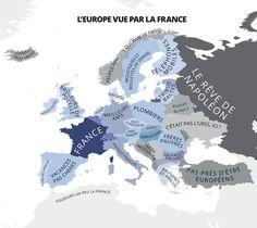 L'Europe vue par France, carte satirique de Yanko Tsvetkov, extraite du livre L'Atlas des préjugés