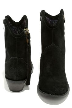 Black Suede Leather Mid-Calf Boots