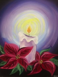 Acrylic poinsettia painting Merry Happy Pinterest