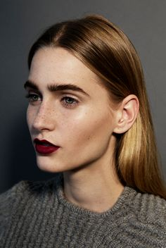 burgundy lips & feathered brows #beauty #makeup #hair #sweater