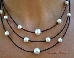 Deep Purple pelle e pavone collana di perle di ChristineChandler