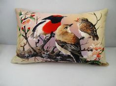 Bird pillow cover decorative  rectangle velvet throw by WhooplaArt