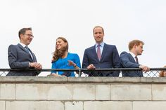 The Duke and Duchess of Cambridge and Prince Harry discuss the installation with Stage Designer Tom Piper (pictured), Ceramic Artist Paul Cummins and Head of Creative Programming Deborah Shaw from the Middle Tower.