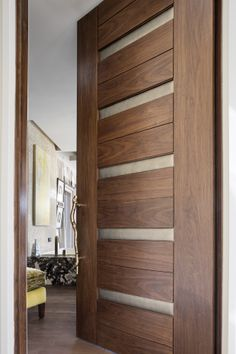 "TruStile Modern Door Collection - TM13340 in Walnut with Edelman Leather and 1/8"" radius reveal. Trent Bell Photography"