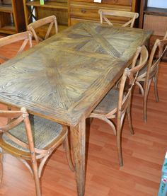 Recycled Parquetry  Elm wood dining table and 6  Elm chairs ,dining set -7 pieces  $1499