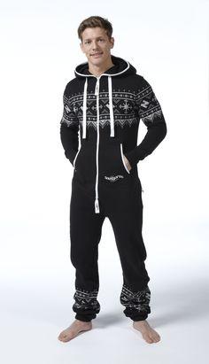Snuggaroo Men's Black Nordic Onesie OnePiece One Piece Jumpsuit