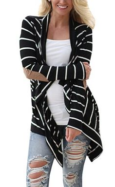 Women Black and White Striped Long Cardigan Loose Sweater Jacket