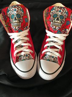 Everyone needs at least one pair of Converse shoes and these sugar skull Chuck Taylors won't disappoint if they're your one and only! Putting the sugar skulls on the tongues is genius as they're easy to spot and bound to be admired. Knee High Converse, Chucks Shoes, Custom Converse Shoes, Custom Sneakers, Custom Shoes, Nike Shoes, Dream Shoes, Crazy Shoes, Haikyuu