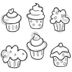 Cupcake Drawing Easy - All you need is a pastry bag and a closed star tip. Sketch the actual lines using a marker. Cupcake Sketch Vector Image On Cupcake Drawing Drawing For. Easy Drawings For Kids, Drawing For Kids, Art For Kids, Drawing Ideas, Drawing Drawing, Kids Fun, Doodle Drawings, Cute Drawings, Doodle Art