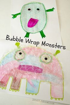 Bubble wrap monsters easy craft for kids. Good for Halloween