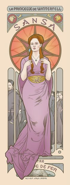 Artist Elin Jonsson prints inspired by the Art Nouveau posters. Four ladies from Game of Thrones each get a turn in the starring role.