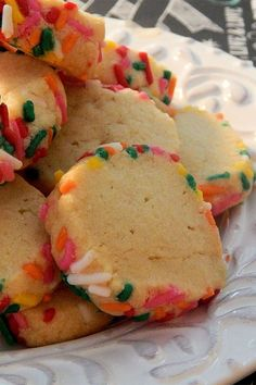 These freezer butter cookies are a quick and easy cookie recipe! Bake the best butter cookies recipe using a few simple ingredients including vanilla and candy sprinkles. You will love this baking make ahead dessert for a snack or after dinner!