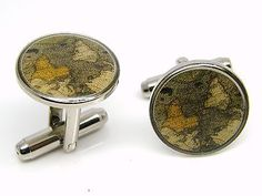 Old #world #globe map cufflinks mens gents ladies #novelty badge in gift pouch,  View more on the LINK: 	http://www.zeppy.io/product/gb/2/350841680679/