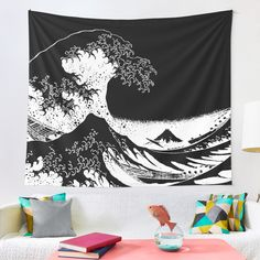 """""""Great Wave Black and White Aesthetic"""" Tapestry by ind3finite 