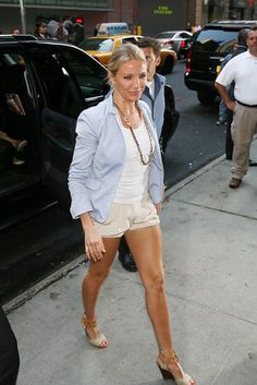 Light blue blazer with khaki shorts, perfect for spring