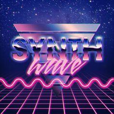 Synthwave Gebruik van geometrische figuren, blauw-roze tinten en tussenliggende kleuren, neon