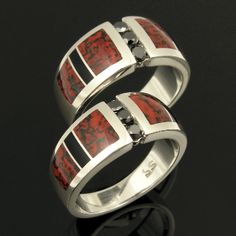 Dinosaur bone wedding ring set with black diamonds set in sterling silver by Hileman Silver Jewelry. Awesome red dinosaur bone with black webbing looks great with the black diamonds and black onyx. Dinosaur Bone Ring, Dinosaur Bones, Black Diamond Wedding Sets, His And Her Wedding Rings, Thing 1, Black Diamonds, Engagement Rings, Sterling Silver, Black Onyx