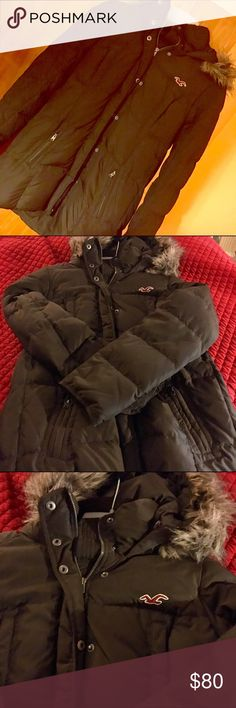 Hollister Winter Coat Beautiful cocoa brown. Has zipper and snaps. Pocket zippers on each side below and removable hood. Definitely will keep you warm during those cold times. Material: Polyester. Hollister Jackets & Coats Puffers