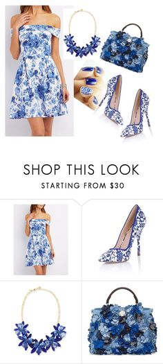 """Blue Flowers"" by loveisablindwar on Polyvore featuring Charlotte Russe, Paper Dolls, Kate Spade and Fendi"