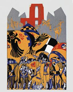 Nobile Contrada dell'Aquila - Siena - Duilio Cambellotti 1932   #TuscanyAgriturismoGiratola