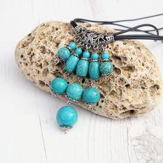Long Turquoise Necklace-Boho Turquoise Necklace-Boho Jewelry-Gemstone Necklace-Gemstone Jewelry-Turquoise Jewelry-Chunky Turquoise Necklace