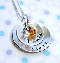 Brag hand stamp mommy necklace with kids name2 by ArtOfSilver, $45.00
