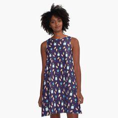 'Grey black Ornemental scroll ' A-Line Dress by Qrea White A Line Dress, Dress Black, Cow Pattern, Geometric Flower, Pink Leopard Print, Pink Panthers, Shape Patterns, Tile Patterns, Pastel Pink