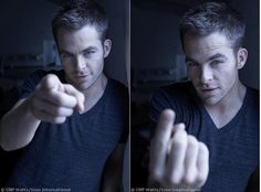 "Chris Pine :)    *Another pinner says ""I tripple dog dare him to do that in public. Warning: I pass out."""