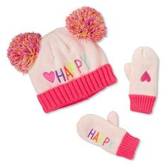 853e14e2daf Toddler Girls  Happy  Heart Double Pom Pom Hat And Mittens Set