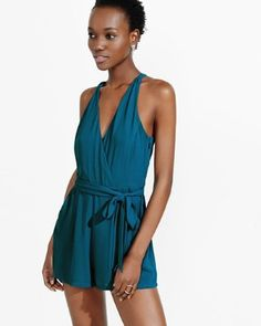 teal surplice halter romper from EXPRESS Heather B, White Romper, Summer Aesthetic, Black Jumpsuit, Summer Outfits, Summer Clothes, New Fashion, Ball Gowns, Wrap Dress
