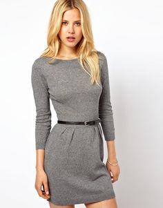 ASOS Slash Neck Knitted Dress With Belt