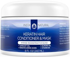 InstaNatural Keratin Complex Hair Mask At Home Deep Conditioner Treatment for Dry Frizzy Fine Damaged Hair With Organic Argan Oil Antibreakage Repair Cream Dry Scalp Remedy Product 8 OZ * You can find more details by visiting the image link. Hair Mask At Home, Hair Mask For Damaged Hair, Damaged Hair Repair, Frizzy Hair, Curly Hair, Vitamins For Hair Growth, Hair Vitamins, At Home Keratin Treatment, Dry Scalp Remedy