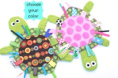 Yertle the Turtle BROWN-BLUE or PINK Crinkle by twigsandtweets