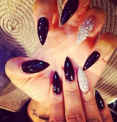Black sliver sparkle pointed stiletto nails