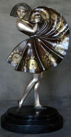 Art Déco - Statuette 'Danseuse Cubiste' - Bronze - France - Marce André Bouraine - Vers 1925