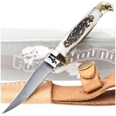Fox-N-Hound FH-610 Damascus Stag Horn Small Game Skinner Knife | MooseCreekGear.com | Outdoor Gear — Worldwide Delivery! | Pocket Knives - Fixed Blade Knives - Folding Knives - Survival Gear - Tactical Gear