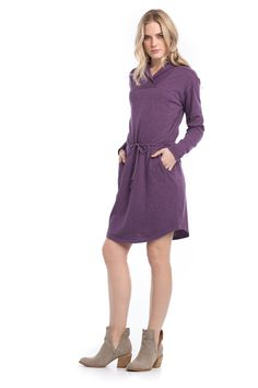 Heathered Sawyer Dress, Color: Plum Pudding, Size: Small | Organic Cotton Dress from Synergy Clothing