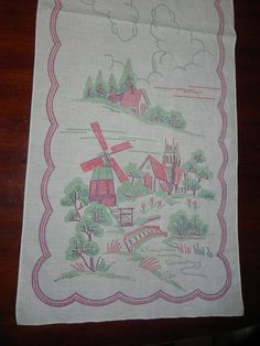 Vintage Stamped Embroidery Cotton Tea Towel by baublesandblingforu, $8.00