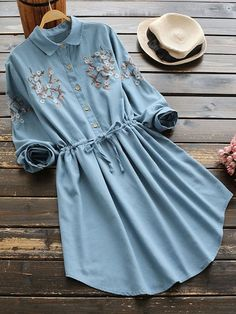 Vintage Shirt Floral Fit and Flare Pleated Collar Long Sleeve Natural Blue Short Length Peter Pan Collar Embroidered Drawstring Shirt Dress Teen Fashion Outfits, Grunge Outfits, Fashion Dresses, Fashion Styles, Stylish Dresses, Casual Dresses, Casual Outfits, Stylish Clothes, Long Dresses